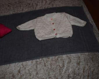3 month CARDIGAN with buttons white pink heart @ Studio fairy finger