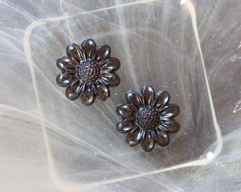 Black cabochon flower scrapbooking
