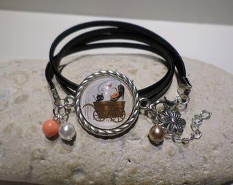 Bracelet leather silver gem cabochon campaign black cats original gift women teenager