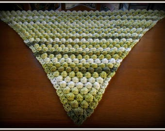 shawl crochet pattern with balls raised green multicolor