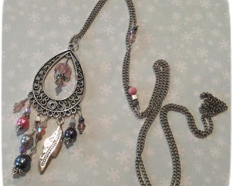 """""""Intense"""" necklace, pink, gray, silver, original feather, glass beads, necklace, Christmas gift idea"""