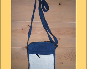 "Nice ""White-blue"" organic fabric clutch bag"