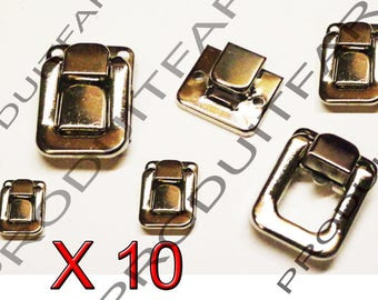 Set of 10 clasps chrome buckle latch lock for jewelry box chest box 40 * 27 mm screws included