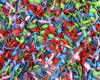 Lot 100 multicolor Paris clip Mini Brads Scrapbooking Cardmaking Decoration 5 * 9 mm