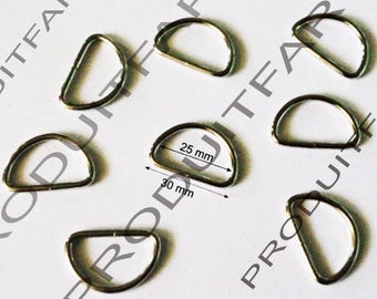 6 rings for strap thong strap Metal 30 mm Crome handle