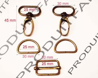 Set of necessary straps Bronze Ring carabiner passing tote for 30 MM
