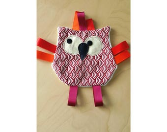 Flat OWL plush Red Ribbon