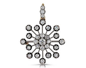 Old European cut diamond brooch/pendant