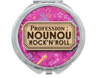 """Pocket mirror """"occupation: nanny ROCK N ROLL"""""""