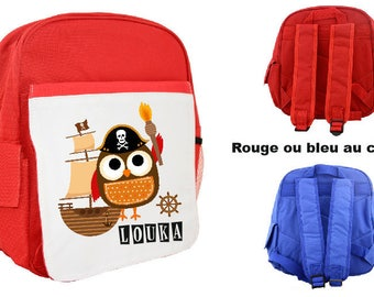 """BACKPACK CHILD """"PIRATE OWL"""" PERSONALIZED WITH CHILD'S NAME"""