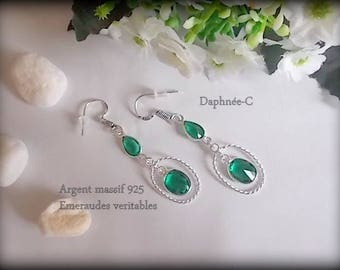 ♥•♥ Crystal ♥•♥ EMERALDS and Sterling Silver 925 EARRINGS