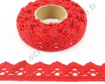 Fabric adhesive tape - red lace trim - 17mm x 2.5 m
