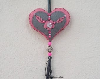 embroidered pink and grey felt heart