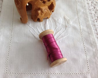 BOBBIN TIMBER MOKUBA FUCHSIA SATIN RIBBON