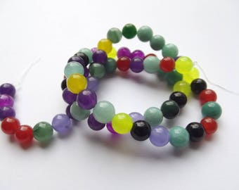60 colored PIRATE 240 multicolored 5-6 mm agate smooth round beads