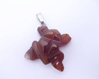 Natural agate pendant carved frog animal nature LIK-215