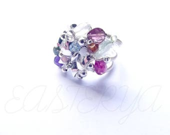Departure * ring silver-filled silver wire wrap Crystal stones