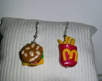 McDonald's earrings (Burger and fries)
