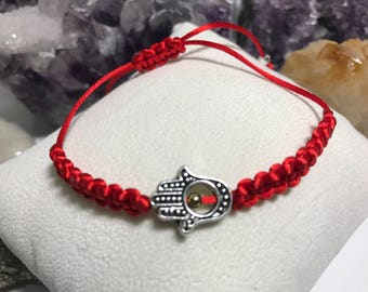 Silver Plated Red Macrame Knot Bracelet