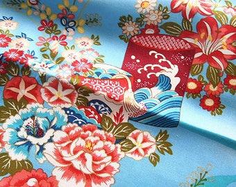 Japanese gold 110 * 50 cm Blue floral cotton fabric