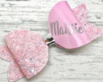 Large Pink and Gold Glitter Personalised Hair Bow, personalized hair clip, girls birthday gift, personalised gift