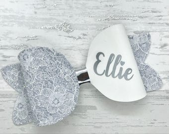 Large Personalised lace glitter hair Bow, wedding bow, bridesmaid bow, toddler hair clip, personalized clip, baby headband, glitter hair bow