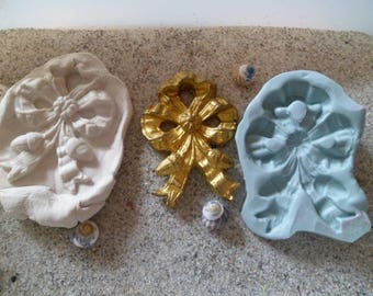 bow Ribbon with tassels silicone mold style old lpour fimo wepam plaster
