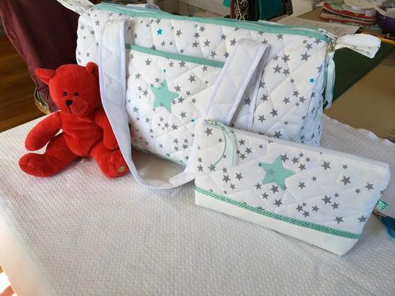 Sac langer b b ou enfant en tissu matelass broderie - Tissu matelasse pour bebe ...
