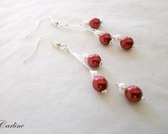 Cascadia - Bridal earrings white red beads