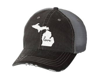 State of Michigan Love Distressed Ladies Baseball Hat | Mesh | Trucker | State Pride | Home