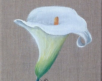 "Table ""arum"" painting on natural linen"