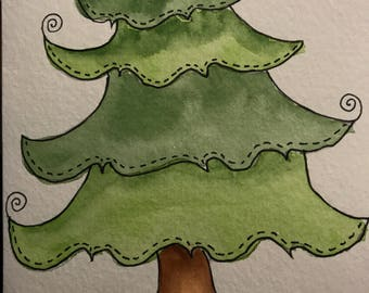 Whimsical Christmas Tree water color card
