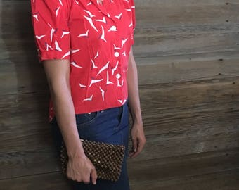 Vintage Button Up Red Print Blouse Size Small-Medium