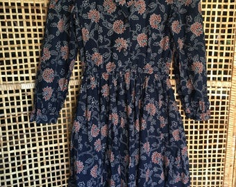 Vintage Navy Blue Floral Dress Size Small- Medium
