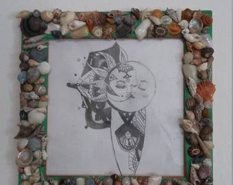 pencil drawing in shell frame