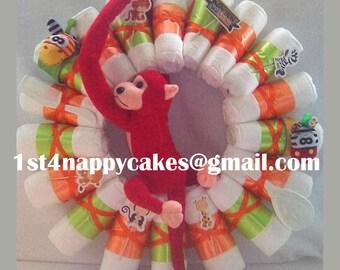 Cheeky Monkey Nursery Nappy Wreath