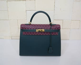 Kelly Bag (Hand-stitched) (Burgundy & Deep Teal) (Quilted)