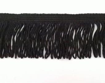 Lace polyester black looped fringe