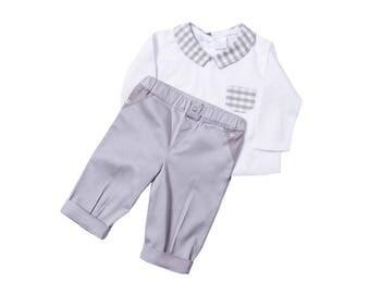 Shirt Pants baby boy baptism gray chic wedding ceremony