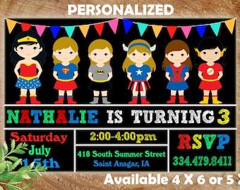 Super hero invitation, superhero invitation templates, superhero birthday party invitation, superhero party invitations, Superhero Girls