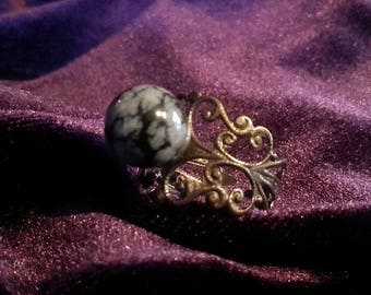 Snowflake Obsidian ring - gothic witch  occult yinyang  magic gemstone