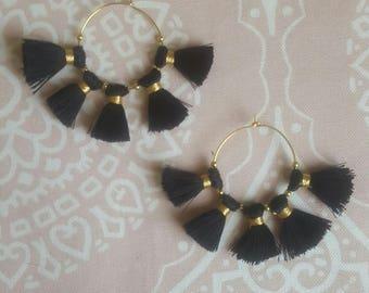 Earrings tassel black gold