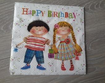 Lot de 2 serviettes en papier représentant un petit garçon et une petite fille