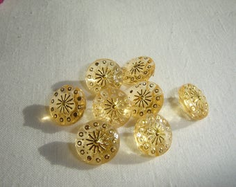10 buttons soft yellow & gold / / 13 mm / / sweater, sweater