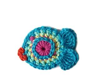 Tiny turquoise fish crochet
