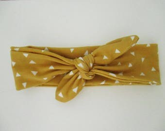Headband Jersey tie for baby, child, adult mustard geometric 6-12 months