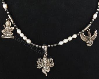 Ganesh, Saraswati and Garuda pendant necklace, elephant god necklace