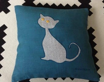 Pillow in linen, square, blue and gray