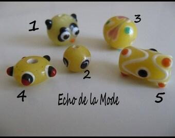 Set of 5 beads glass style lampwork artisan set 6