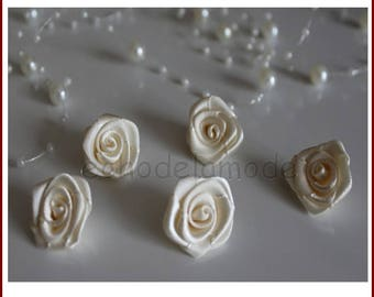set of 5 pink satin flowers ivory 2.2 cm for customization